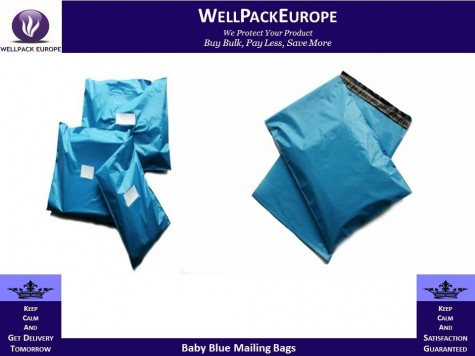 "100 x Strong Baby Blue Postage Poly Mailing Bags 5"" x 7"" (120x170mm)"