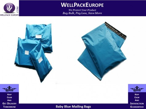 """50 x Strong Baby Blue Postage Poly Mailing Bags 17"""" x 21"""" - 430x535mm"""