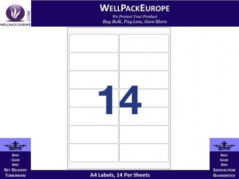 100 x A4 Sheets of Printer Address Labels - 14 Per Sheet