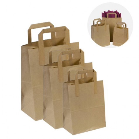 """250 x SOS Brown Kraft Paper Carrier Bags With Handles 7""""x8""""x4"""" (180mm x 215mm x 95mm) 