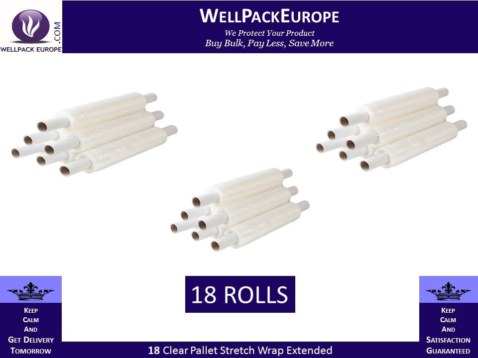 18 Clear Pallet Stretch Wrap Extended