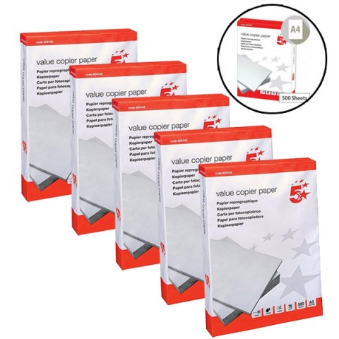 5 Reams Box of A4 Printer / Copier Multipurpose Paper (2,500 Sheets)