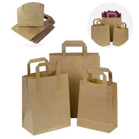 SOS Brown Kraft Paper Food Party Gift Carrier Bags With Handles 10x12x6 | LARGE