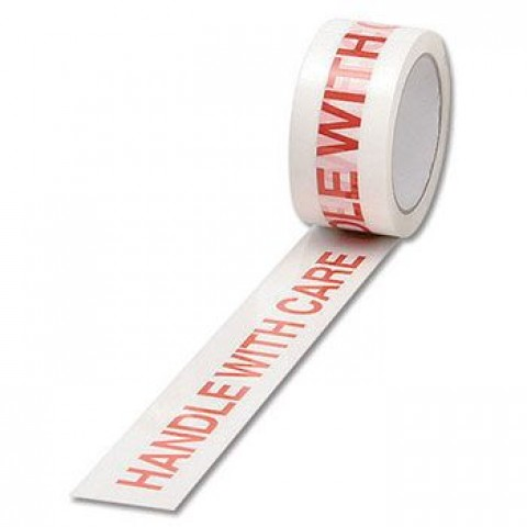 6 x Rolls Handle With Care Printed Packing Tape 48mm x 66m