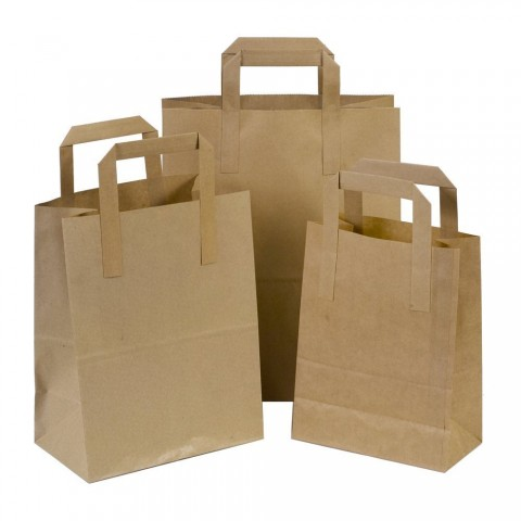 """250 x SOS Brown Kraft Paper Carrier Bags With Handles 10""""x12""""x6"""" (250mm x 300mm x 140mm) 