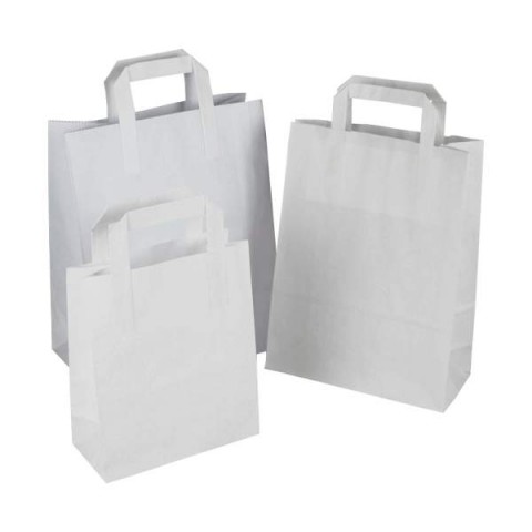 """250 x SOS White Kraft Paper Carrier Bags With Handles 7""""x8""""x4"""" (180mm x 215mm x 95mm) 