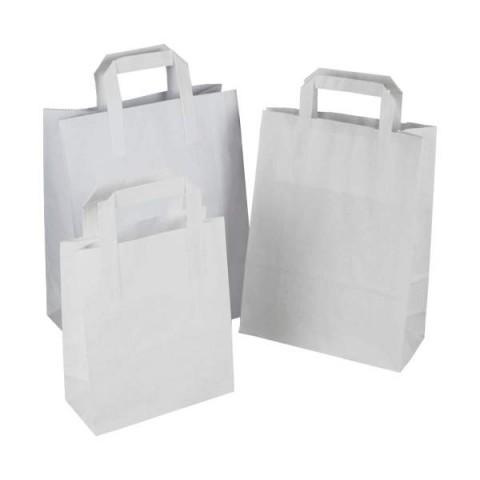 "250 x SOS White Kraft Paper Carrier Bags With Handles 8""x10""x5"" (220mm x 250mm x 110mm) | MEDIUM |"