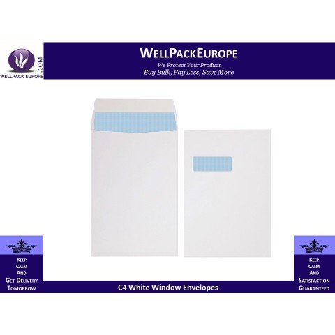 100 x C4/A4 White Window Self Seal Envelopes 324x229mm , 90gsm