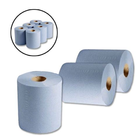 blue roll 2 ply centre feed embossed kitchen cleaning hand towel tissue paper wipes rolls
