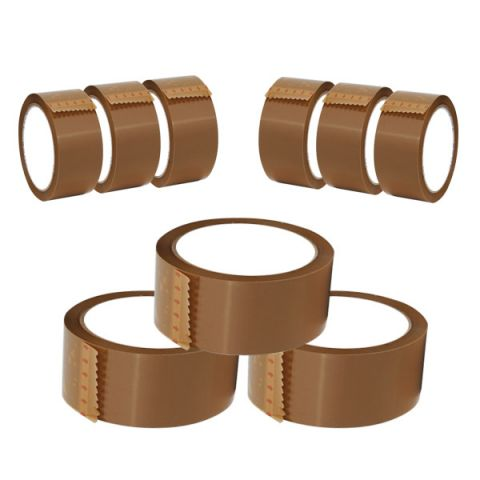 Brown Tape Buff Packaging Parcel Tape Roll Low Noise 48 mm x 66 m