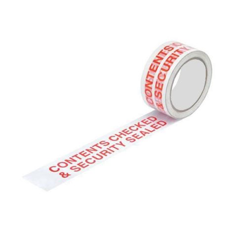 """""""Contents Checked"""" Printed Security Tape"""