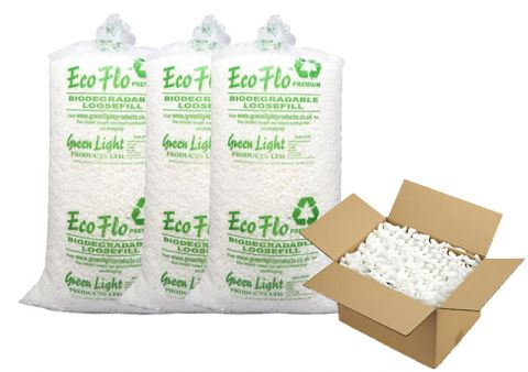 Eco flo biodegradable loose fill packaging packing peanuts chips bag poly polystyrene peanuts