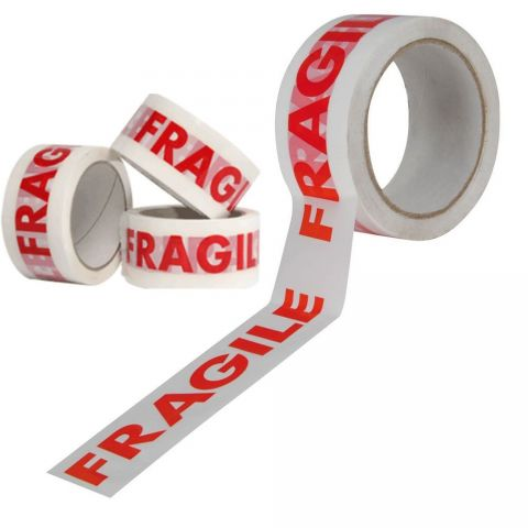 Fragile tape parcel packing sealing carton box red and white tape roll