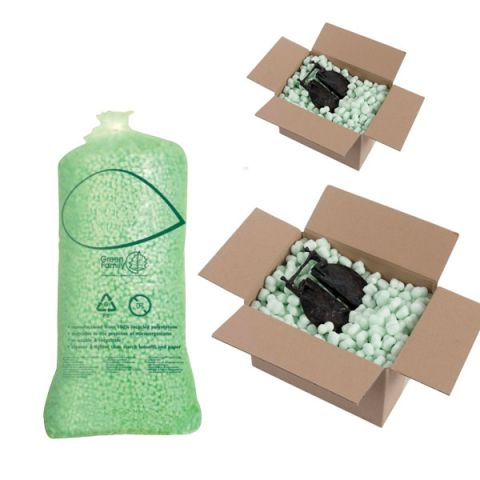 Biodegradable flopak green loose fill void fill packaging packing peanuts chips bag