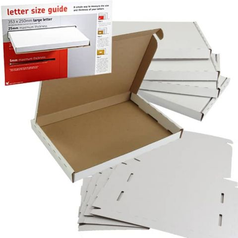 Royal mail large letter boxes white size guide c4 c5 c6 a4 a5 a6 postal mailing postage boxes