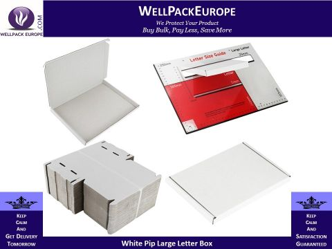 25 x White PIP Royal Mail Large Letter Die-Cut Postal Boxes 16x110x120mm (LLWHT1)
