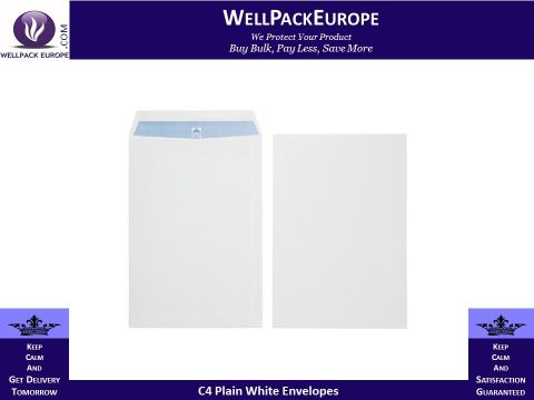 100 x C4/A4 White Plain Self Seal Envelopes 324x229mm , 90gsm