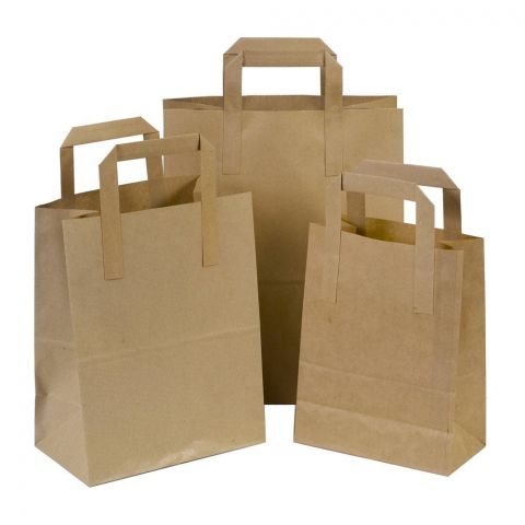 "250 x SOS Brown Kraft Paper Carrier Bags With Handles 7""x8""x4"" (180mm x 215mm x 95mm) 