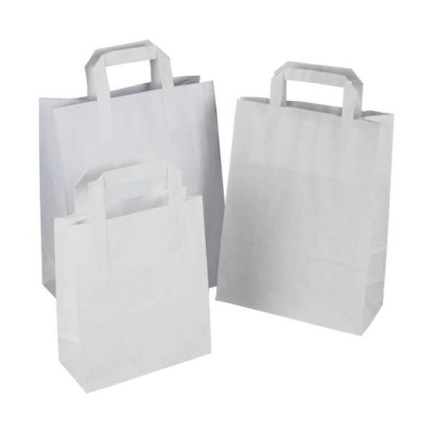 "250 x SOS White Kraft Paper Carrier Bags With Handles 7""x8""x4"" (180mm x 215mm x 95mm) 