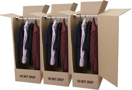 "3 Wardrobe Carton Boxes 20""x19""x49"""
